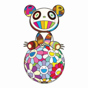 A Top Ball of Flowers a Panda Cub Sits Properly, by Takashi Murakami