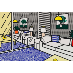WALLPAPER WITH BLUE FLOOR INTERIOR, by Roy Lichtenstein